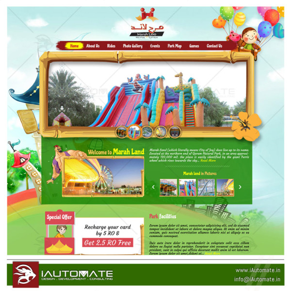 Amusement Park homepage template design