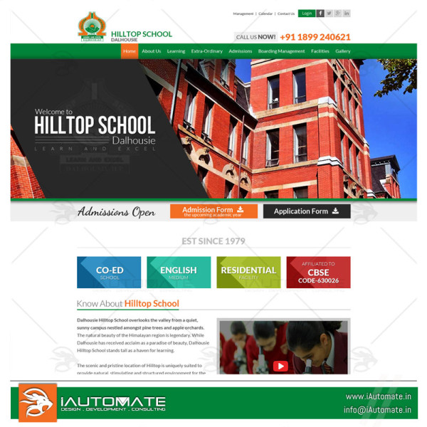 Boarding school website design