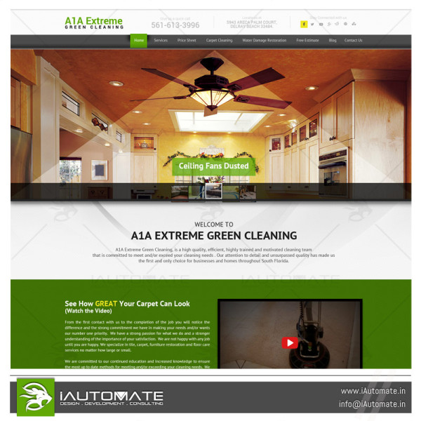 Carpet and rug cleaning service company website