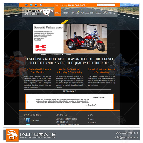 Motorcycle rental website design