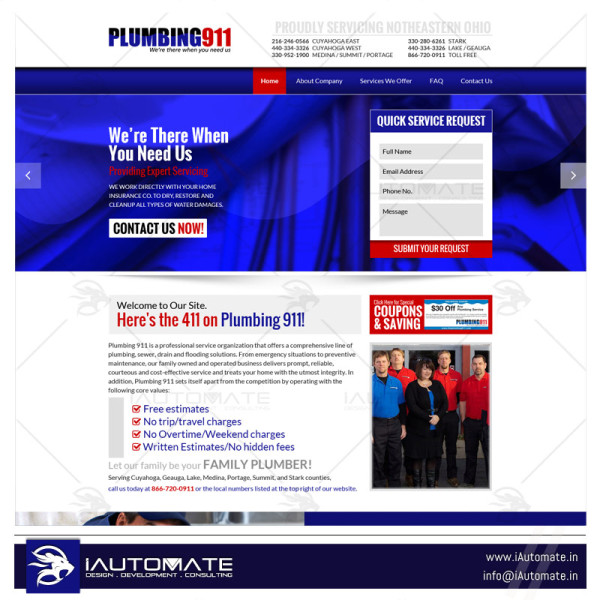 Plumbing Services web design and development