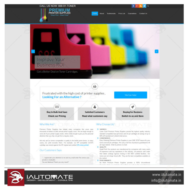 Printer website design and development