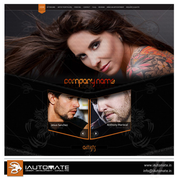 Tattoo artist website design