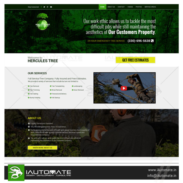 Trees and Lawn care company website design