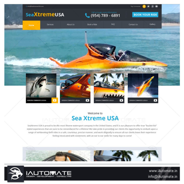 Water sports services website design