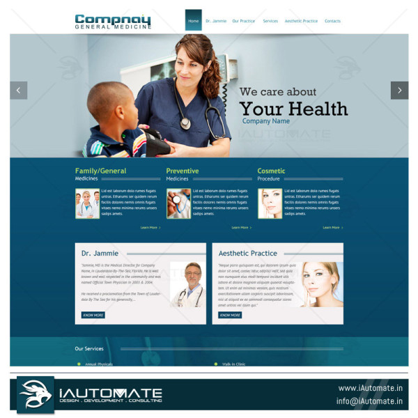 Hospital website design and development