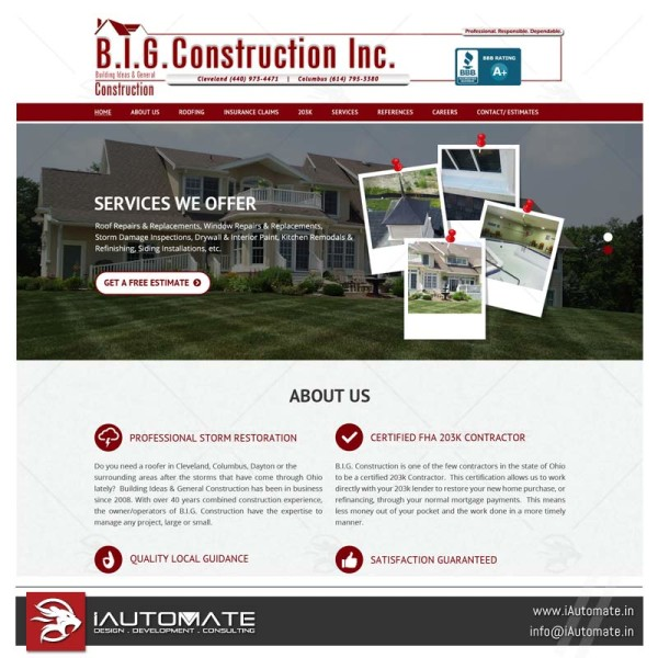 Construction company web design and development