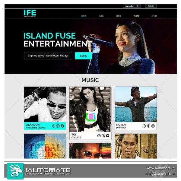 Entertainment and Music web design