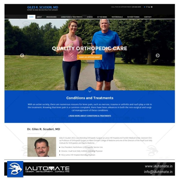 Expert knee surgeon website design