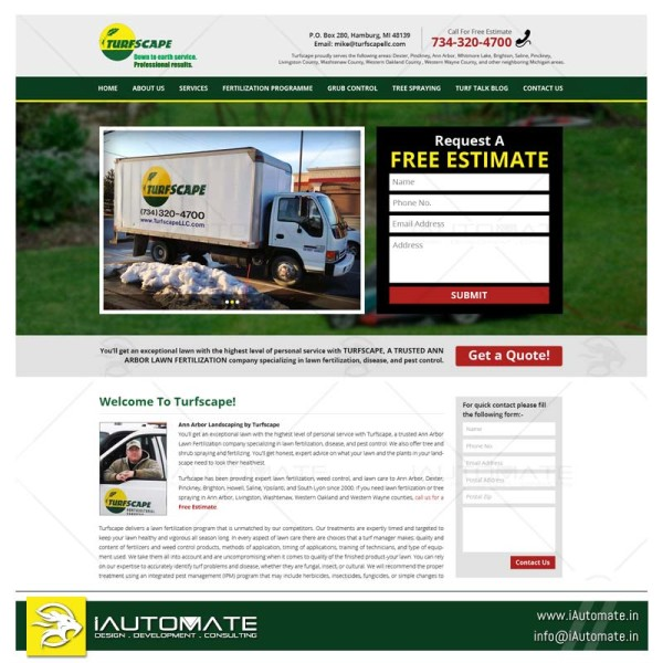 Hire a mowing company webdesign