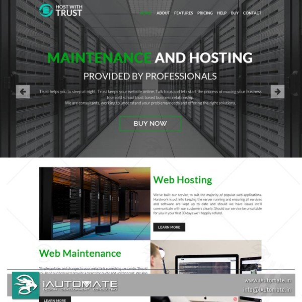 Hosting company wordpress design