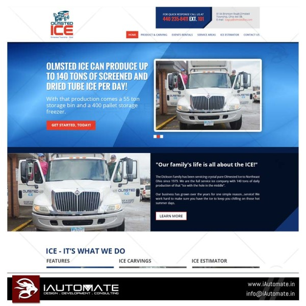 Ice manufacturer supplier website design