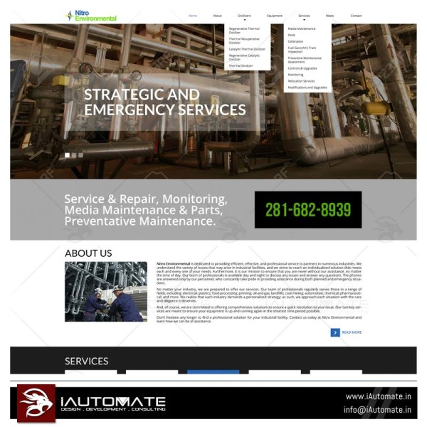 Industrial services website design and development