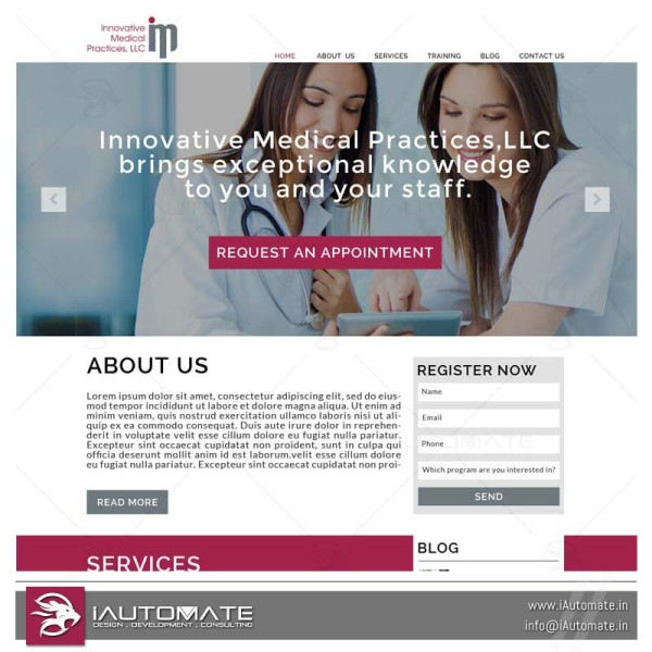 Innovative medical services website