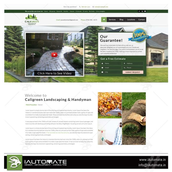 Landscaping and lawncare website design and development