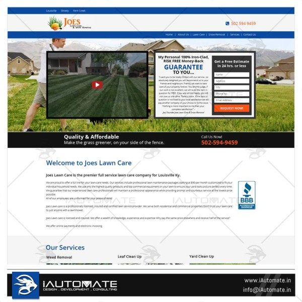 Lawn care wordpress design and development