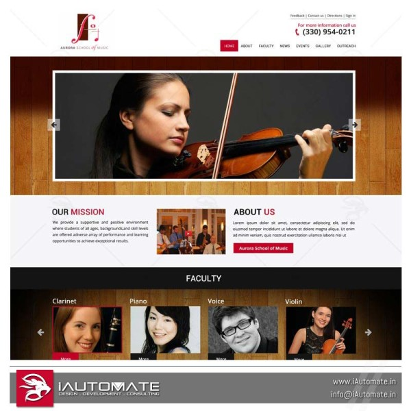 Music school website design