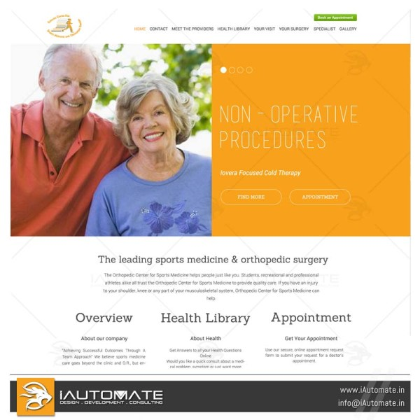 Orthopedic center website design and development