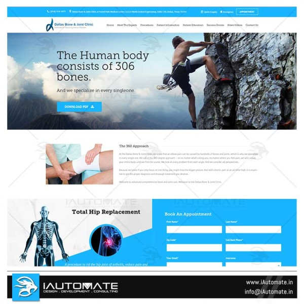 Orthopedic clinic web design