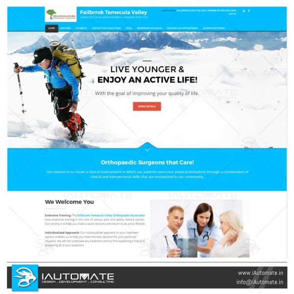 Orthopedic clinic wordpress design and development