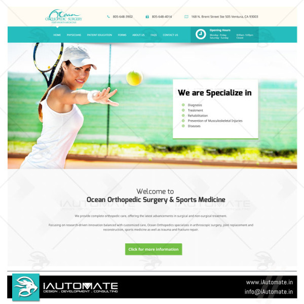 Orthopedic hospital website design