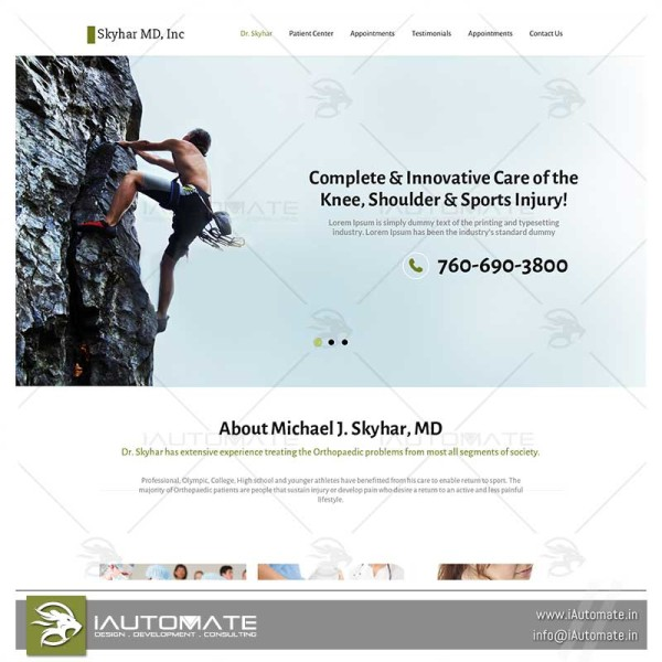 Orthopedic surgeon website design
