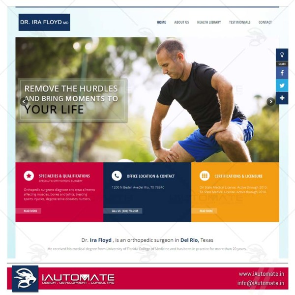 Othopedic doctor web design wordpress