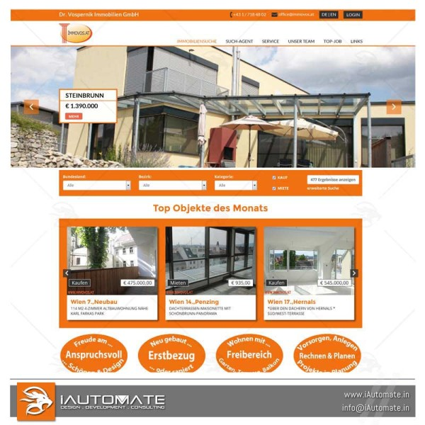 Property Rentals website design