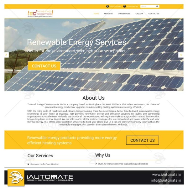 Renewable services provider website