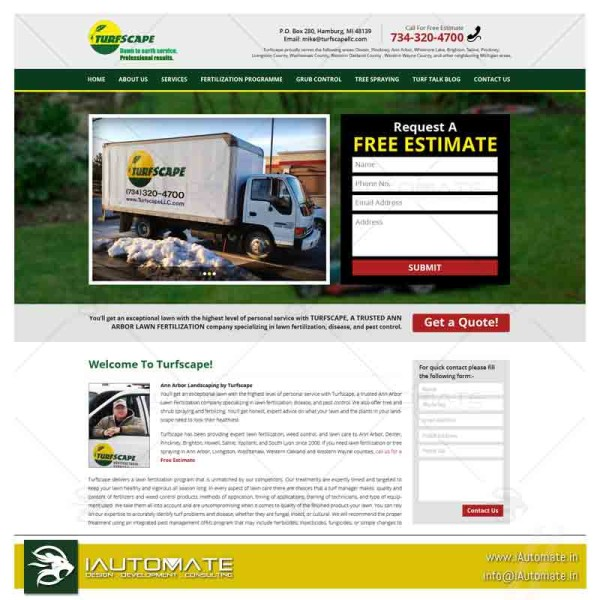 Turf and Lawncare Website design