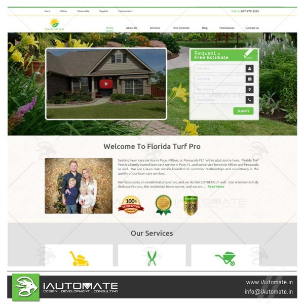 Turf care Landscaping web design and development