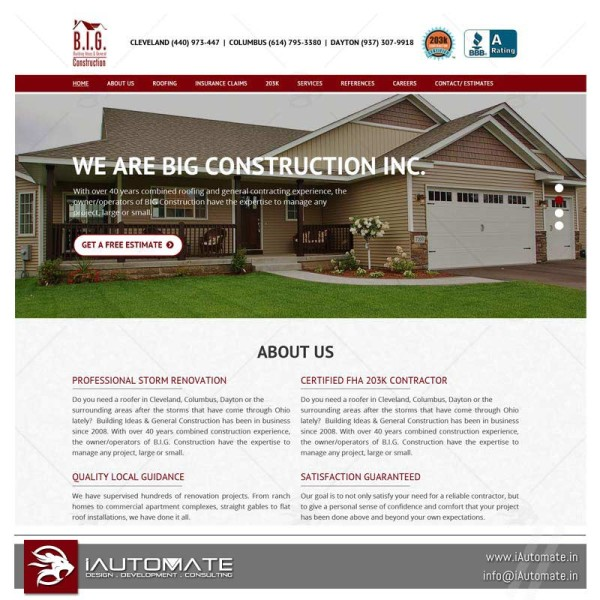 Construction company wordpress website