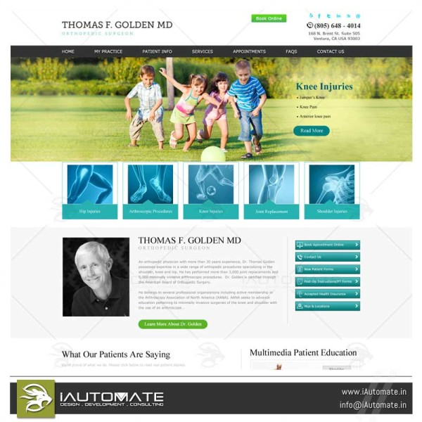 Orthopedic doctors web design and development