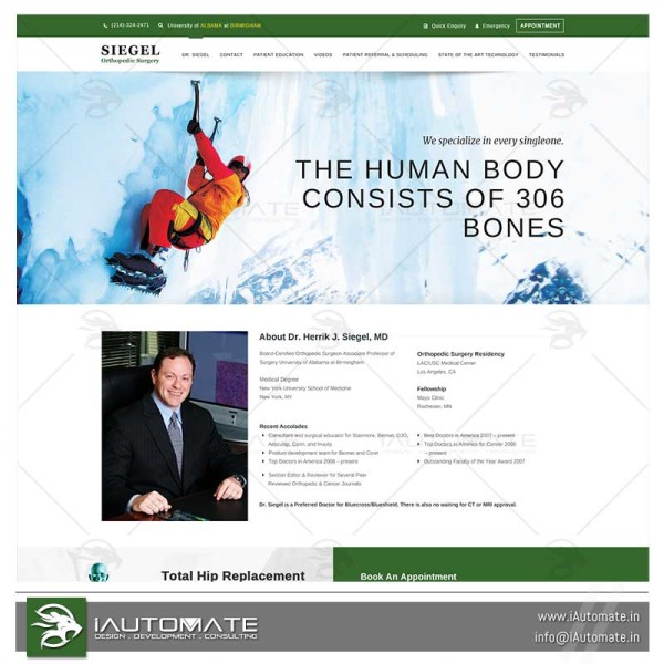 Orthopedician wordpress website