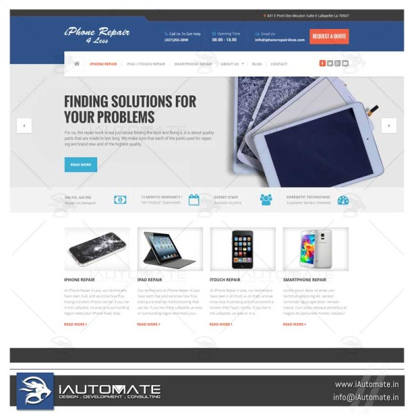 Phone repair website design