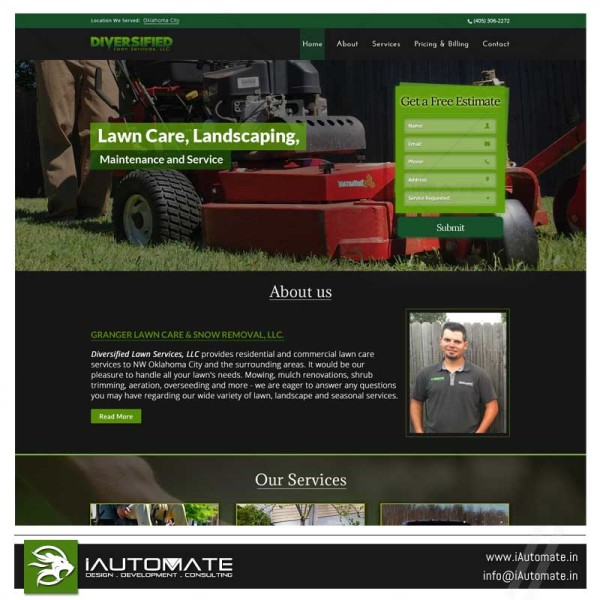 Diversified Lawncare wordpress web development