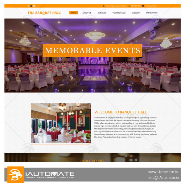 Banquet Hall demo web design