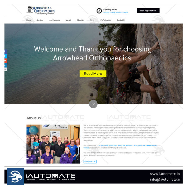 Arrow Head Orthopaedics WordPress webdesign