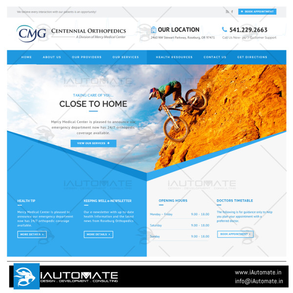Centennial Orthopedic web design