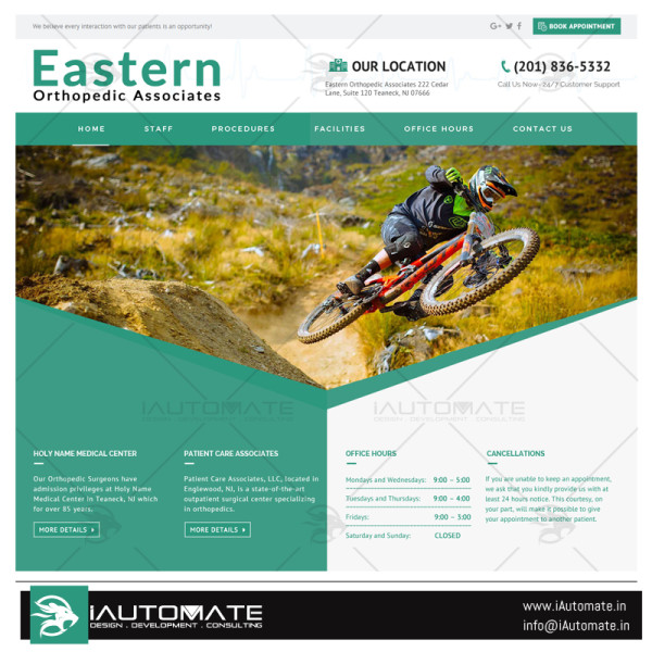 Eastern orthopedic website design