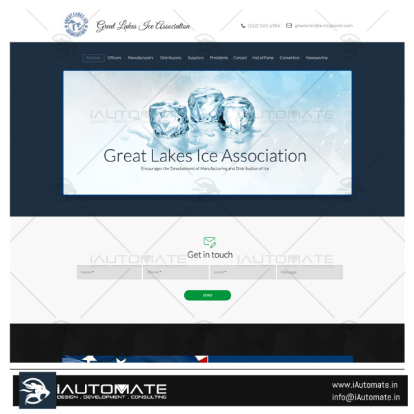 Great Lakes Ice Association website design and development