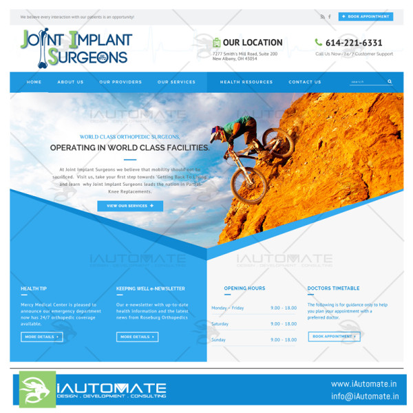 Joint Implant Surgeons website design