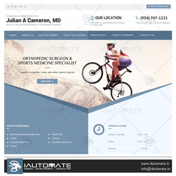 Julian A Cameron website design and development