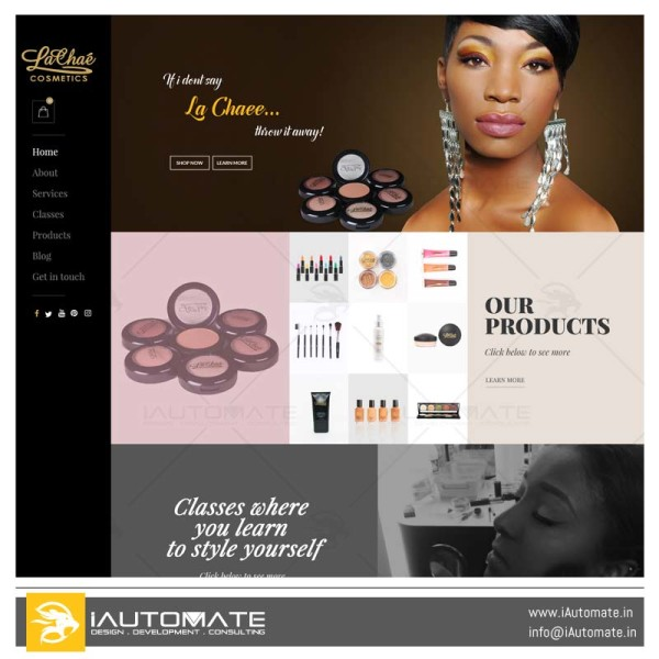 Lachae Cosmetics ecommerce website
