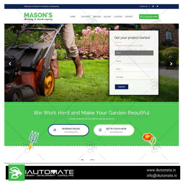 Mayson's mowing and landscaping wordpress design