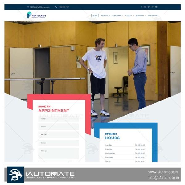 Pentland's Prosthetics & Orthotics webdesign