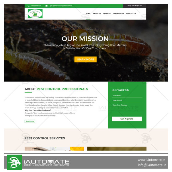 Pest Control Professionals web design