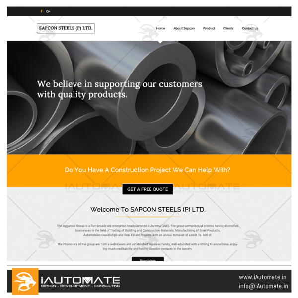 Sapcon Steels (P) Ltd website design development