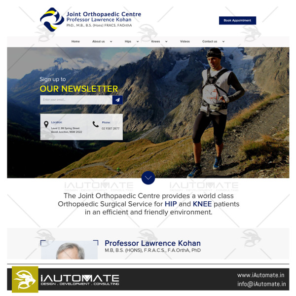 Joint Orthopaedic Center webdesign and development