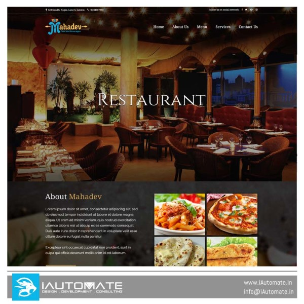 Mahadev restuarant website